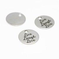 yaşa sev gül toptan satış-10 adet / grup Canlı Gülmek Aşk disk charm paslanmaz çelik Motivasyon çekicilik kolye 20mm