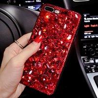 elma 4'lü telefon kutuları toptan satış-Sunjolly Kırmızı Elmas Durumda Rhinestone Telefon Kapak Iphone X 8/8 Artı 7/7 Artı 6 s / 6 Artı 5 s 5 Se 5c 4 s 4 Kristal Bling Coque