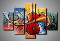 instrument ölmalerei großhandel-handgemalte 5 panel wand abstrakte kunst musikinstrumente leinwand kunst ölgemälde galerie leinwand malerei schlafzimmer kunst naturmalerei