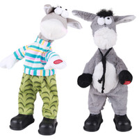 divertidos cantando juguetes de navidad al por mayor-Animales de peluche animales eléctricos sacudieron su cabeza burro cantando y bailando juguetes para niños de Navidad regalo divertido