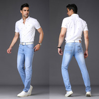 Wholesale men jeans china - Cheap Clothing China Jeans Mens Pants Solid Slim Thin Trousers 2018 Summer Europe America Style Plus Size