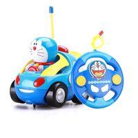 Wholesale Car Racing Girls - Baby Boys Girl Doraemon Electric Toys Remote Control Car Kids Rc Car Cute Cat Cartoon Musical Light Child Race Car Toy