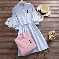mini vestidos japoneses al por mayor-Las mujeres del estilo japonés Spring Strip Dress 2018 Vintage Harajuku Girl bordado Cat Shirt vestidos coreanos Kawaii Pink Mini Vestidos