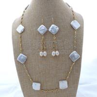 ingrosso orecchini blu della collana della perla-S112408 Set di orecchini con collana a catena in cristallo blu perla perlato quadrato 25