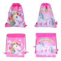 Wholesale drawstring backpack animals - Unicorn Drawstring Bags 3 Styles Kids Backpack Nonwovens Girls Boys Pouch Gift Bags Children School Travel Storage Bags 1200pcs MMA140