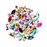 nagel verzieren großhandel-Gemischte Größen gemischte Farbe Kristall Acryl Pferd Auge Form Strass dekorieren Nailart flache Rückseite Marquise Erde Facette dekorativ