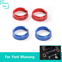 Wholesale mustangs accessories - Car Air Conditioner Conditioning Switch Decoration Ring Stickers Aluminum Alloy For Ford Mustang Auto Styling Interior Accessories