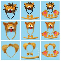 Wholesale Lion D Headband Bow Tie Tail Cosplay Animal Set Kids Adults Halloween Performance Props Party Favors