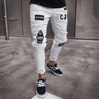 gilet zippé homme jeans achat en gros de-Jeans Hommes avec Pocket Street Fashion Print Skinny Zipper Pants Automne Hiver Jogger Hip Hop Jeans Pantalon Crayon