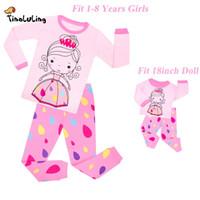 c20ec1bd49eaa TINOLULING baby girls doll princess pajamas set doll pajamas clothing for  18inch children sleepwear kids pyjamas pijamas clothes Y18102908