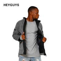 Wholesale Men Over Coats - HEYGUYS 2018 high street Europe street long over size Jacket Hip Hop Suit Pullover Winter Jacket Men Coat fashion men Casual