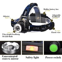 Wholesale cree xml t6 led bicycle - CREE XML T6 headlights headlamp Zoom waterproof 18650 rechargeable battery Led Head Lamp Bicycle Camping Hiking Super Bright Light
