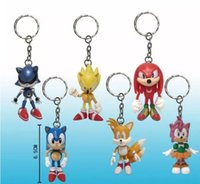 Wholesale sonic movie toys online - set int cm SEGA sonic the hedgehog Figures toy silicone keychain sonic Characters D key chain