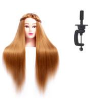 cabeza de muñeca de entrenamiento al por mayor-Pelucas sintéticas cabeza pelucas para peluqueros 24 pulgadas maniquí formación cabezales de muñecas Maniquí peluquería cabeza profesional pelucas para peluquería