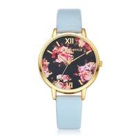 старинная кварцевая кожа оптовых-Gofuly женщины цветок дамы платье часы Топ люксовый бренд старинные наручные часы дамы кожа кварцевые часы hodinky reloj mujer