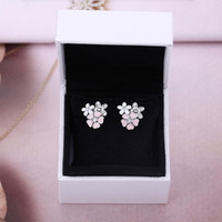 rosa box ohrringe großhandel-100% 925 Sterling Silber Rosa Emaille Blume Ohrringe mit Box Fit Pandora Charm Schmuck Ohrstecker für Frauen Valentinstag Geschenk
