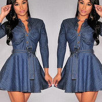 Wholesale Women S Blue Jean Dresses - Bowknot Belt Long Sleeve Dresses Fashion Women Slim Fit Denim Jean Dress Plus Size