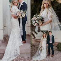 Wholesale long train beach wedding dresses online - 2018 Country Mermaid Wedding Dresses Modest Jewel Short Sleeves Sweep Train Bridal Gowns Lace Applique Plus Size Beach Garden Wedding Dress