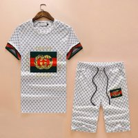 Wholesale motorcycle racing suit jacket - 2018 Summer New Pattern Original Printing Knitting Suit Male Leisure Time Even Half Sleeve Cap Jacket Men'S Motion Set 001#