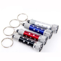 Wholesale Mini Led Keychain Light Red - LED Key Chain Flashlights Key Ring light 7 LED Mini Flash light Torch Chain Key Ring Red Green Blue White Keychain Free Shipping