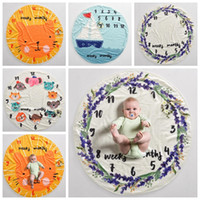 Wholesale wholesale cotton blankets - Kid Circular milestone Blanket photography background props Blankets infant Swaddling flower number letter newborn baby wraps GGA409 12PCS