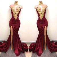 Wholesale Maternity Lace Dress - 2018 New Design Sexy Burgundy Prom Dresses with Gold Lace Applique Mermaid Front Split Side Special Occasion Evening Party Gowns BA5998