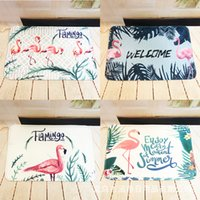 Wholesale bathroom pads - Flannel Printing Mat Doormat Bedroom Living Room Kitchen Thickening Water Uptake Carpet Botany Green Pads Customizable 11 5hx2 gg