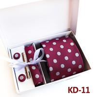 Wholesale Ties Hanky Sets Brown - 3.35inch (8 Cm)men Business Tie Wedding Normal Wide Arrow Dot Men Tie Handkerchief, Pin and Cufflinks Gift Box Packaging