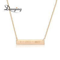 Wholesale Engraved Necklace Name - DUOYING 35*6mm Gold Color Bar Custom Engraved Name Necklace For Women Personalized Initial Necklace Chain Etsy Supplier