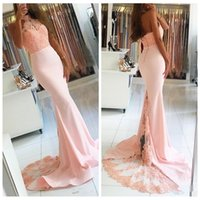 Wholesale Satin Slim Bridesmaid Dresses - 2018 Halter Mermaid Pink Lace Appliques Mermaid Long Bridesmaids Dresses Slim Custom Formal Honor Of Maid Prom Party Gowns Vestidos