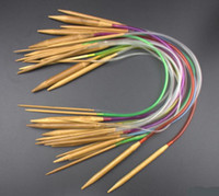 Wholesale knitting bamboo circular online - Hot Multi color set quot cm Tube Carbonized Circular Bamboo Carbonized Knitting Needles Crafts Yarn tool Sets Gifts