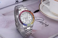 toques de homens de quartzo venda por atacado-Relógio de diamantes relógio mestre 40mm anel de arco-íris automático namoro luxo moda masculina e feminina tira de esportes relógio de quartzo dos homens relógio