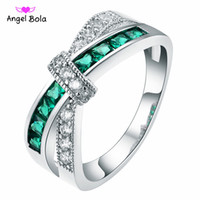 Wholesale unique settings engagement rings - 925 Silver Unique Rings Top Quality Trendy Design Green And White AAA CZ Multicolor Rings Fit Girls Jewelry