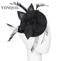 dekorative schwarze federn großhandel-Schwarze Farbe Hoch quatily Frauen, die Fascinator-Hut mit Feder Basis DIY millinery Partei headwear Damen Wedding sind, dekorieren headwear