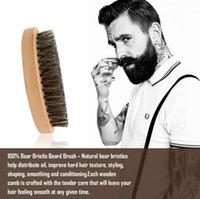 boar brush hair bristles toptan satış-Yeni Varış Doğal Bambu Domuzu Kıl Sakal Fırça Bıyık erkek Sakal Fırçası Mesaj Yüz Saç Sakal Yağı Tıraş Fırçası Aracı