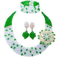 yeşil kostüm takı kolyeleri toptan satış-Moda Yeşil Şeffaf Nijeryalı Düğün Kolye Kostüm Afrika Boncuk Takı Seti Kristal 5L-ZJ030