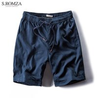 Wholesale Flax Pants Xl - S.ROMZA Summer Casual Cotton Linen Shorts Men Flax Half Knee Drawstring Man Shorts Flax Male Simple Short Pants Asian Size