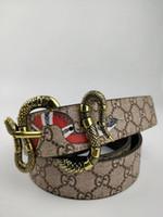 neutrale tasche großhandel-New fashion neutrales Geschäft Luxus Gürtel Designer Schlangenkörper Leder Gürtel Nadel Knopf Leder Gürtel 3,8 cm breit