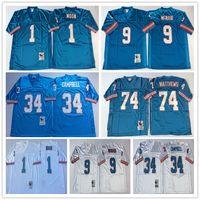 Wholesale White Campbell - NCAA High Quality Men Retro Throwback Jersey #1 Warren Moon Houston #34 Earl Campbell #74 Bruce Matthews #9 Steve McNair White Blue Jerseys