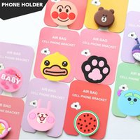 Wholesale cartoon phones online - 3D Cartoon Phone Holder Air Mount Cute Animail Phone Holder Portable Grip Mount Ring For iPhone Tablets Kickstand