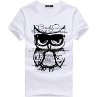t shirt coruja venda por atacado-Mens Verão Camisetas Big Size Coruja Impresso Designer T Camisas de Manga Curta Magro Moda Tops Tees 2018 Roupas Masculinas XXXL DH095