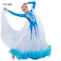 robe de danse de salon standard achat en gros de-Strass Ballroom Dance Compétition Robes Robes de danse standard Robe de bal D0453 Manches longues 10 couleurs Big Sheer Hem