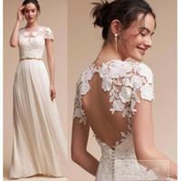 Wholesale Wedding Dress Back Hole - 2017 New Bohemian Wedding Dresses Lace Cap Sleeves A Line Summer Beach Bridal Gowns Floor Length Key Hole Back Plus Size Wedding Dress