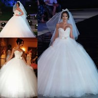 Wholesale puffy ball gown princess wedding dress for sale - Group buy Princess White Ball Gown Wedding Dress Sweetheart Floor Length Beads Sequins Top Puffy Skirt Long Bridal Gowns Plus Size