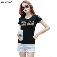 abc2946c2 Estilo coreano de Verão Feminino T-shirt Por Atacado Senhora Ocasional Marca  Tops Tee Carta Feliz Impressão das Mulheres T Camisas Slim Diamante T-Shirt