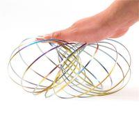 Wholesale toys springs - Rainbow ToroFlux Spring Metal Flowtoys Magic Flow Ring Kinetic Geoflux Fun Kids Gift Interactive Toys DDA217