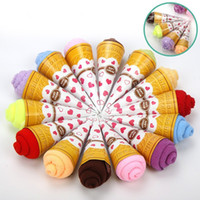 Wholesale Towels Cakes - 20*20CM Colorful Washrag Mini Ice Cream Cake Shaped Towel Practical Washable Resuable Facecloth Easy To Clean 1 35mx B
