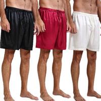 pantalones de satén para hombres al por mayor-Pijamas de satén de seda para hombre Pantalones de pijama Pantalones de salón Pantalones de dormir Zapatos de dormir gratis S ~ 4XL Plus para hombres Nuevo