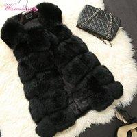 chalecos peludos al por mayor-WEIXINBUY Mujeres Cálido chaleco de piel de lujo chalecos de piel sintética Chalecos de las mujeres elegantes chaqueta abrigo abrigo peludo de invierno de alta calidad