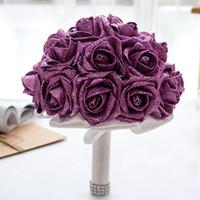 fabrique de fleurs en soie achat en gros de-Brillante Or Broche Diamant De Mariée De Mariage Bouquets De Mariée En Cristal De Soie De Fleurs Bouquets De Noiva Usine Personnalisé CPA1586